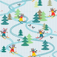 Cute funny raccoons on skiing. Winter seamless pattern. Stylized knitted fabric. Christmas background.