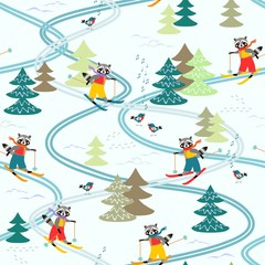Cute cartoon raccoons on skiing in the forest. Winter seamless pattern. Christmas background.