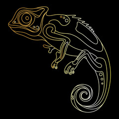 gold chameleon on a black background