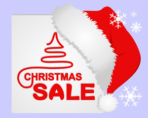 Christmas Sale on the White Frame with Santa's Cap