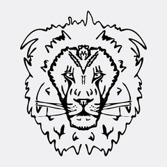 Hand-drawn pencil graphics, lion head. Engraving, stencil style.
