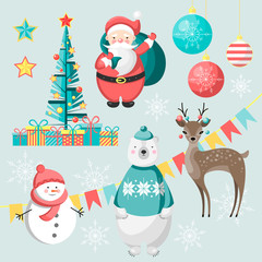 Set of christmas characters and decorations