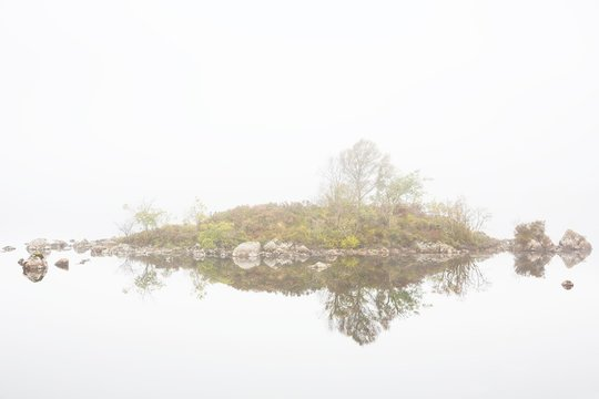Misty morning at Loch Na Claise, Highlands, Scotland, united kingdom