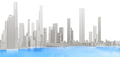 3d generic city with blue lake