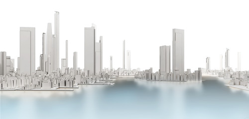 3d generic city with frozen lake