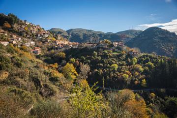 Scenic mountain autumn landscape with  village Langadia, Pelopon