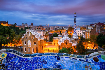 Park Guell in Barcelona, Spain at night