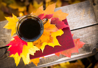 Hot coffee and red book with autumn leaves on wood background - seasonal relax concept
