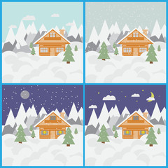 Set with pictures of ski landscape and chalet in mountains with snow and trees day and night with snowfall