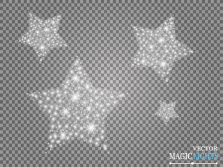 Vector white glossy wave abstract illustration. White Star dust trail of glittering particles, isolated on a transparent background. Magic concept. Christmas. New Year.