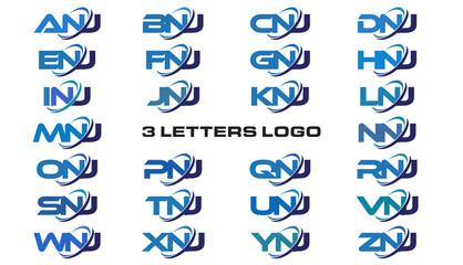 3 letters modern generic swoosh logo ANJ, BNJ, CNJ, DNJ, ENJ, FNJ, GNJ, HNJ, INJ, JNJ, KNJ, LNJ, MNJ, NNJ, ONJ, PNJ, QNJ, RNJ, SNJ, TNJ, UNJ, VNJ, WNJ, XNJ, YNJ, ZNJ