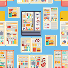 Open refrigerator products vector pattern.