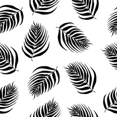 endless pattern of black and white palm leaves