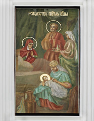 Рождество Пресвятой Богородицы. Изображение, композиция на стене Церкви Рождества Пресвятой Богородицы, Киево-Печерской лавры