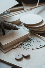 The working desk in wood workshop