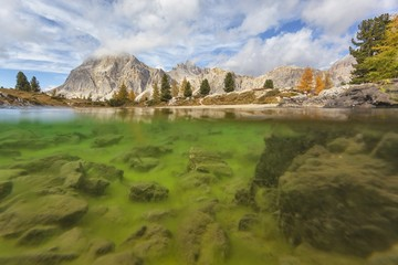 Lake Limides and mountains in Autumn,Cortina d'Ampezzo, Italy