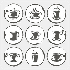 Coffee cup icons with stain