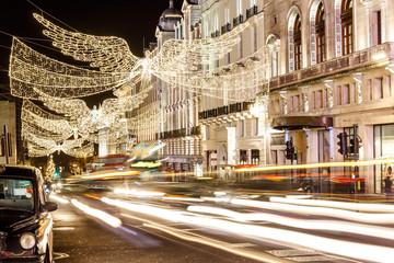Christmas lights on Regent street in 2016 in  London