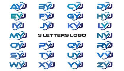 3 letters modern generic swoosh logo AYJ, BYJ, CYJ, DYJ, EYJ, FYJ, GYJ, HYJ, IYJ, JYJ, KYJ, LYJ, MYJ, NYJ, OYJ, PYJ, QYJ, RYJ, SYJ, TYJ, UYJ, VYJ, WYJ, XYJ, YYJ, ZYJ
