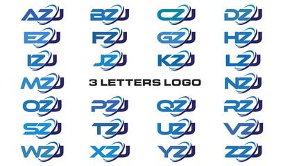 3 letters modern generic swoosh logo AZJ, BZJ, CZJ, DZJ, EZJ, FZJ, GZJ, HZJ, IZJ, JZJ, KZJ, LZJ, MZJ, NZJ, OZJ, PZJ, QZJ, RZJ, SZJ, TZJ, UZJ, VZJ, WZJ, XZJ, YZJ, ZZJ