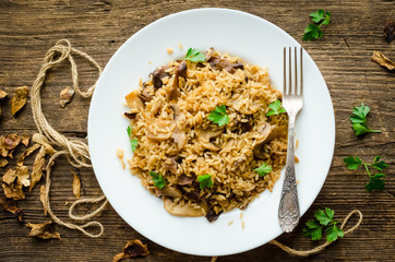 Homemade traditional Italian mushroom risotto
