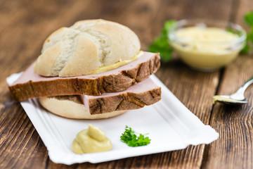 Portion of German Leberkaese (selective focus)