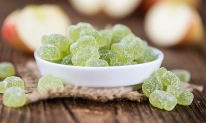 Portion of gummy candy (apple taste)