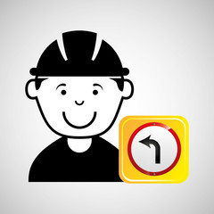 construction worker road sign graphic vector illustration eps 10