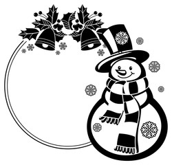 Black and white round frame with funny snowman