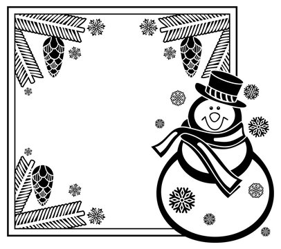 Black and white frame with funny snowman, holly berries and pine cones
