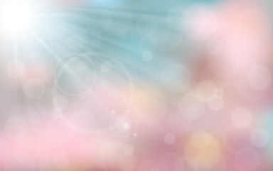 Pink and blue spring background with sun ray, flare, bokeh. Vector illustration.