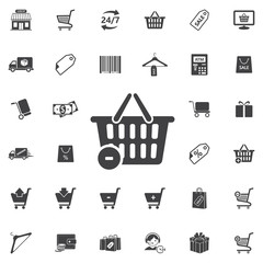 shop basket icon on the white background