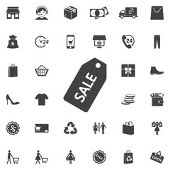 Sale tag icon on the white background