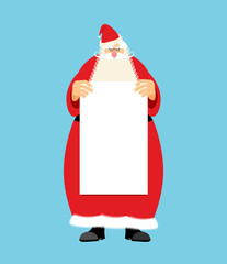 Santa Claus and blank sheet template isolated. Granddad in red s