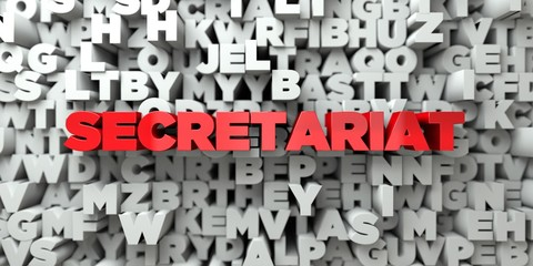SECRETARIAT -  Red text on typography background - 3D rendered royalty free stock image. This image can be used for an online website banner ad or a print postcard.