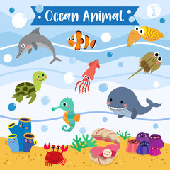 Ocean Animal cartoon underwater background. Turtle. Whale. Squid. Crab. Dolphin. Oyster. Clownfish. Barnacle. Cuttlefish. Sea Squirt. Horseshoe Crab. Seahorse. Vector illustration. Set 2.