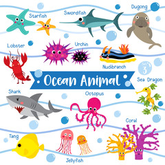Ocean Animal cartoon on white background with animal name.  Lobster. Starfish. Octopus. Shark. Jellyfish. Coral. Tang. Sea Dragon. Urchin. Swordfish. Nudibranch. Dugong. Vector illustration. Set 3.