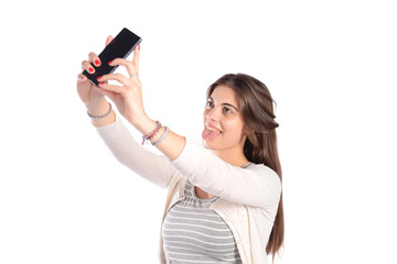 Woman taking selfie with smartphone.
