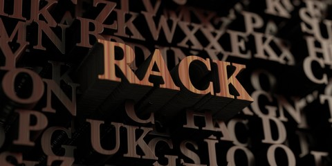 Rack - Wooden 3D rendered letters/message.  Can be used for an online banner ad or a print postcard.