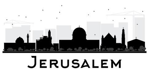 Jerusalem City skyline black and white silhouette.