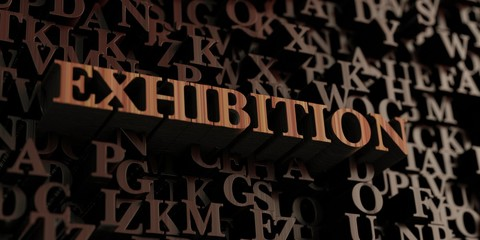 Exhibition - Wooden 3D rendered letters/message.  Can be used for an online banner ad or a print postcard.