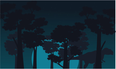 Mapusaurus scenery of silhouettes vector