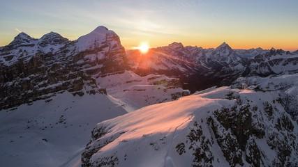 Aereal view to Tofana di Rozes, Sorapis and Antelao Mount from refuge Lagazuoi, Cortina d'Ampezzo, Italy
