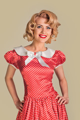 coquettish retro pinup woman