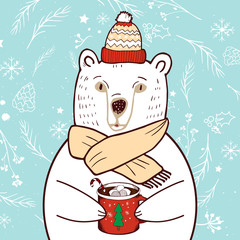 Polar Bear in red hat.