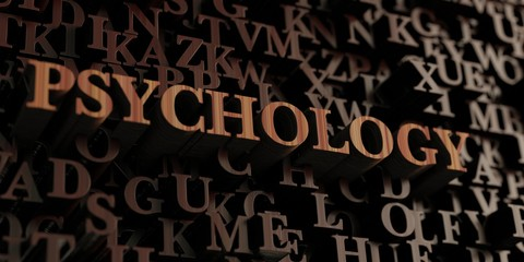 Psychology - Wooden 3D rendered letters/message.  Can be used for an online banner ad or a print postcard.
