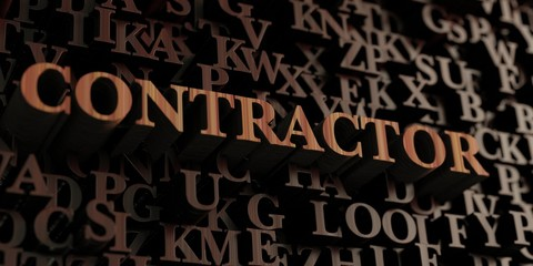Contractor - Wooden 3D rendered letters/message.  Can be used for an online banner ad or a print postcard.
