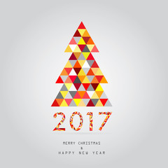 2017 christmas and happy new year card vector background
