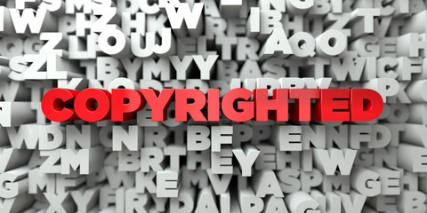 COPYRIGHTED -  Red text on typography background - 3D rendered royalty free stock image. This image can be used for an online website banner ad or a print postcard.