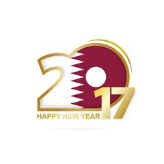 Year 2017 with Qatar Flag pattern. Happy New Year Design.